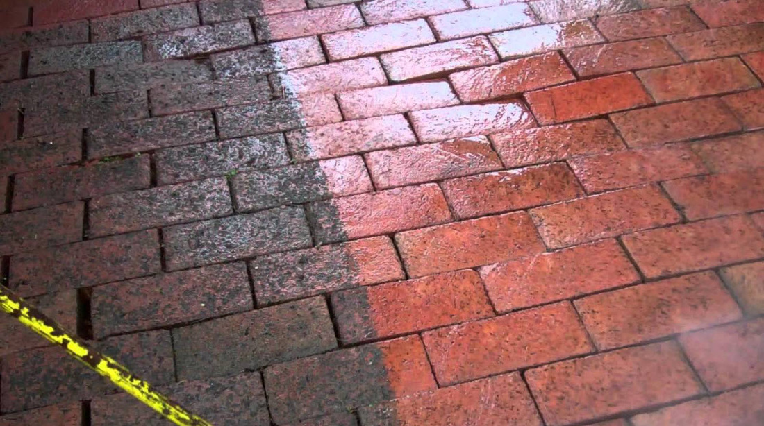 Power washing pavers